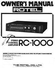 Rotel RC-1000 Amplifier Owners Manual