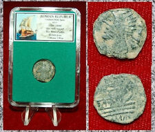 ANCIENT ROMAN REPUBLIC BRONZE COIN MALE BUST ON REVERSE PROW GALLEY ON REVERSE