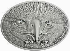 Fiji 2013 Fascinating Wildlife Bald Eagle $10 1 Oz Silver Oval w Swarovski Eyes