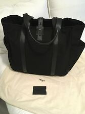Shinola Black Canvas Black Leather Utility Tote Bag