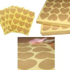 Love Heart Shape Brown Kraft Paper Stickers Best Quality Gift seal Brand New