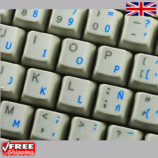 Spanish Transparent Keyboard Stickers With Blue Letters For Laptop PC Computer