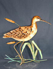 Sandpiper  Sea Bird in Cattails metal wall art home decor
