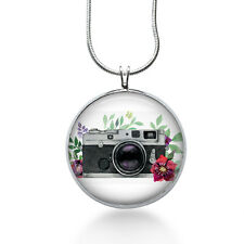 Watercolor Photograph Necklace - Camera Jewelry - Floral Pendant