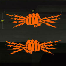"Fist Lightning Bolts Electrician Power Set of 2 ORANGE Decal Stickers 13""x3.5"""