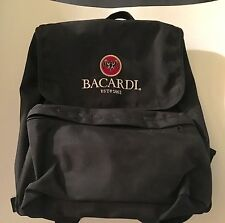 Bacardi Rum Embroidered Black Promotional Full Size Backpack 2003 Rare