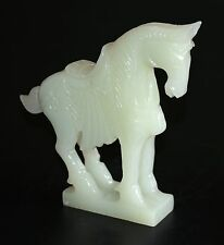 VINTAGE CHINESE LIGHT GREEN JADE EFFECT HAND CARVED SOAPSTONE WAR HORSE FIGURINE
