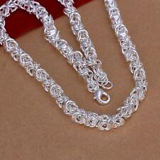 "925 Sterling Silver Plated Fashion 7mm*20"" Men's Chain Necklace gift jewelry New"