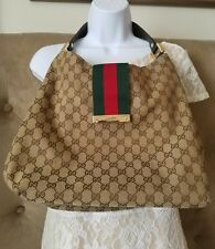 Gucci Handbag Canvas 100% Authentic-with brown leather handle strap