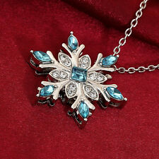 Charm Women Silver Crystal Frozen Snowflake Neckless Long Chain Pendant Necklace