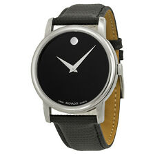 Movado Museum Black Dial Black Leather Strap Mens Watch 2100002