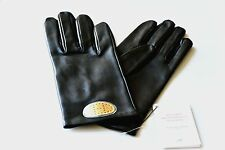 100% AUTH HERMES WOMEN'S WRIST GLOVES GOLD H LOGO BLACK LAMBSKIN LEATHER NEW NWT
