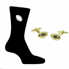Gold Plated Rugby Balls Design Cufflinks and Rugby Ball Design Socks