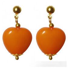 Boucles D'oreilles femme manga kawaii cosplay années 80 coeur Orange très légere