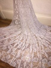 "5 MTR CHAMPAGNE LACE NET LYCRA STRETCH FABRIC...60"" WIDE £12.49 SPECIAL OFFER"