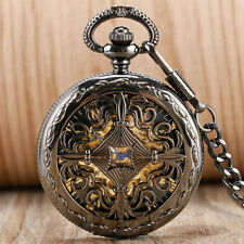 Vintage Self Winding Grilles Automatic Mechanical Men Women Pocket Watch Chain