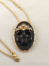 Alexis Bittar Muse d'Or Skull Cameo Pendant Necklace Black Agate & Pyrite