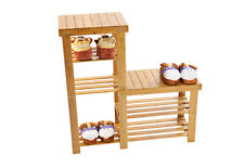 4 TIER BAMBOO WOODEN SHOE RACK ORGANISER STAND CD DVD FLOWER STORAGE SHELF UNIT