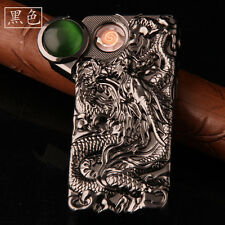 Black USB Electronic Rechargeable Battery Windproof Dragon Cigarette Lighter