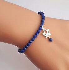 Sterling Silver Lotus & Lapis Lazuli Gemstone Beaded Bracelet Handmade in U.K