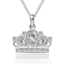 Women 925 Sterling Silver Plated Crown Fashion Pendant Necklace Chain Jewelry