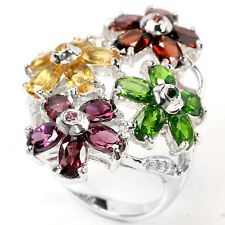 Sterling Silver 925 Genuine Mixed Gemstone Flower Design Ring Size L.5 (US 6)