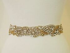 "Wedding Belt, Bridal Sash Belt - GOLD Crystal Pearl Sash Belt = 19 1/2"" long"