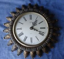 Vintage / Retro Smiths Sectric Sunburst Wall Clock, Junghans Battery Movement