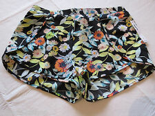 Volcom Black Floral multi colors M medium Shorts juniors womens surf swim NWT^^