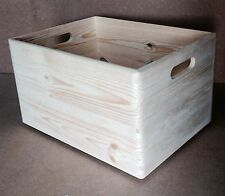 Large natural unfinished pine wood storage crate DD166 40x30x23CM archive box