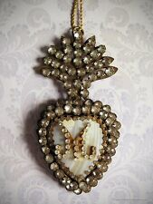 French Jeweled Mother of Pearl Flaming Heart Ex-Voto, Marian Sacred Heart