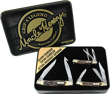 SCHRADE UNCLE HENRY 2015 THREE POCKET KNIFE & TIN GIFT SET 834UH 707UH 877UH NEW