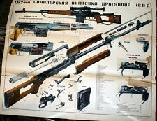 SVD Dragunov Sniper Rifle HUGE Poster Soviet Russia USSR 7.62x54 Manual Buy NOW!