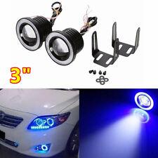 "2x 3"" Projector LED Fog Light Car COB High Power + Blue Halo Ring Angel Eye Lamp"