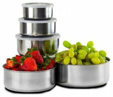 10 Piece Set: Home Collections BPA Free Stainless Steel Storage Bowl Set with