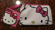 Sanrio HELLO KITTY Coin Purse Makeup Bag w/ Glitter Bow - Fast Shipping!