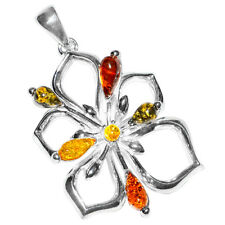 7.8g Authentic Baltic Amber 925 Sterling Silver Pendant Jewelry A309