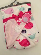 Sweet Lullaby Baby Girl Blanket Velour Layette 30x40 Pink Polka Dot Whale