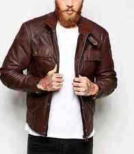 New Leather Jacket With Chest Pocket Sz L RRP -£135.00 (G23)