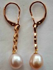 Vintage 14K Solid Rose Gold and Pink Pearl Earrings