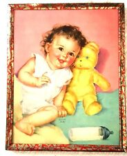 """Vintage 5"""" Metal Frame with Baby Graphic"""