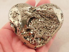 A BIG! Carved PYRITE HEART with little Vugs full of Tiny Crystals! Peru 371gr e