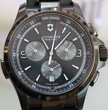 New! Victorinox Night Vision Chronograph Swiss Army Stainless Steel Watch 241730
