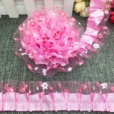 New 5 yards 2-Layer 40mm Pink Organza Lace Gathered Pleated Sequined Trim G#09