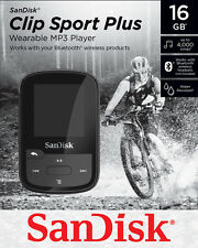 SanDisk Sansa Clip Sport Plus Black 16GB MP3 Bluetooth Player FM Radio