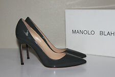 New sz 9 / 39 Manolo Blahnik BB Light Gray Patent Leather Pointed Pump Shoes