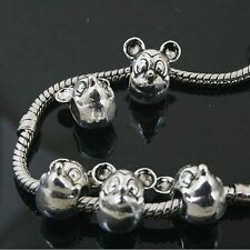 6pcs Tibetan Silver Mickey Mouse Beads Fit European charm  Bracelet  L0136