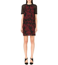 New Reiss Dawn Tiered Printed Overley Shift Dress Black/claret Size US 4 $320