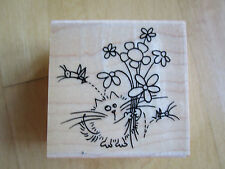RARE Stampendous GRASSHOPPER FLUFFLES The Cat F152 Rubber Stamp Flowers Bug