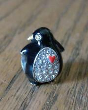 BRIGHTON PENGUIN SLIDE CHARM Pave Rhinestone Crystals Red Heart Black Enamel